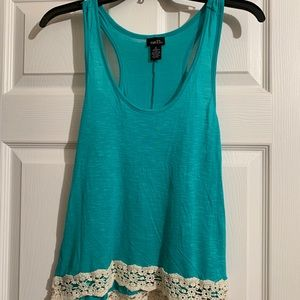Teal with lace racer back tank